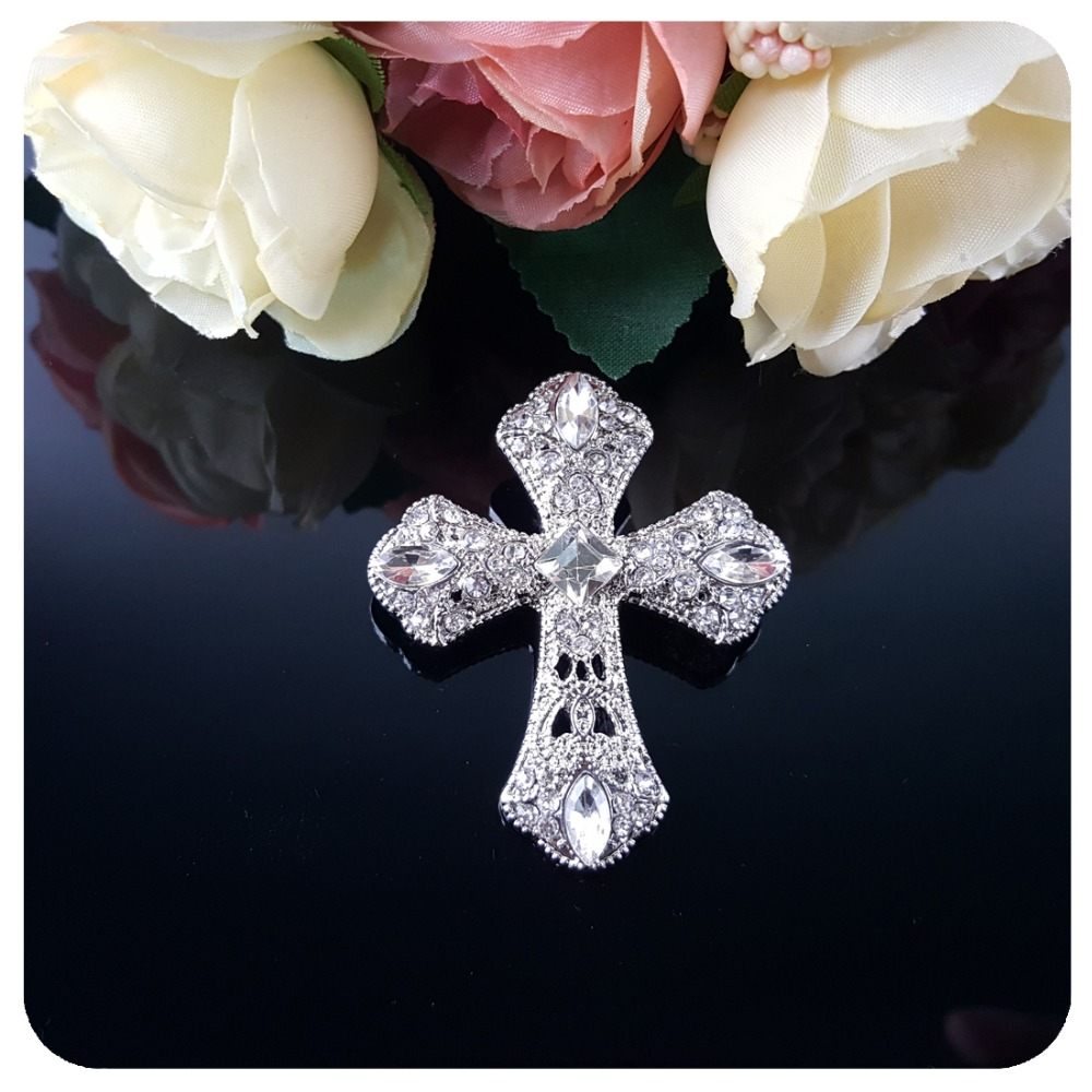Sparkly Crystal Cross Brooch Jewelry Gift Christian Jesus Lapel Pin in Brooches from Jewelry Accessories