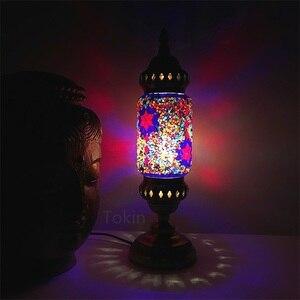 Image 4 - Nuovo stile Turco mosaico Lampada da tavolo vintage art deco Handcrafted lamparas de mesa di Vetro romantico letto lamparas con mosaicos