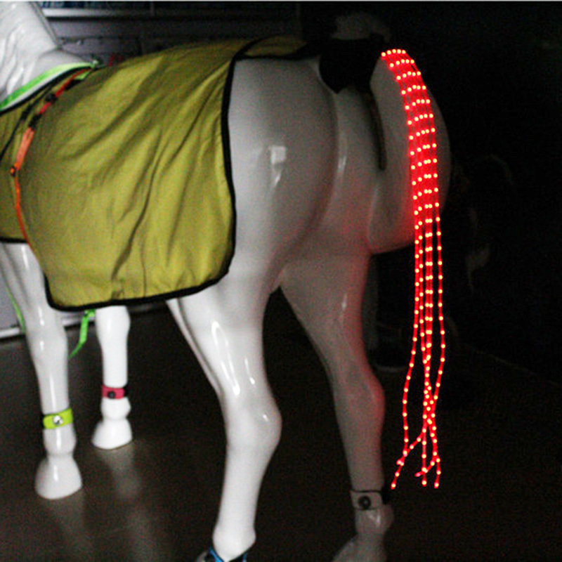 MOLOY NEW 100CM Horse Tail USB Lights Chargeable LED Crupper Horse Harness Equestrian Outdoor Sports The Lights Horse Tail
