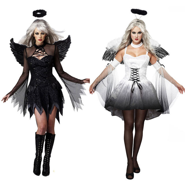 Women Y Black White Devil Costume Outfit Dress Up Hen Party Cosplay