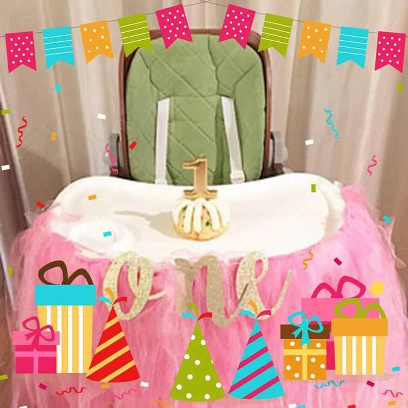 1 ชุด Creative Glitter หนึ่ง Banner Girl Boy 1st วันเกิดเก้าอี้อาบน้ำเด็ก Prince Princess Party อุปกรณ์ตกแต่ง