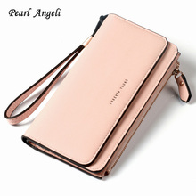 Pearl Angeli hosszú stílusú női pénztárca PU bőr pénztárca Női cipzáras tok nagy kapacitású kuplung női pénztárca Carteira Feminina
