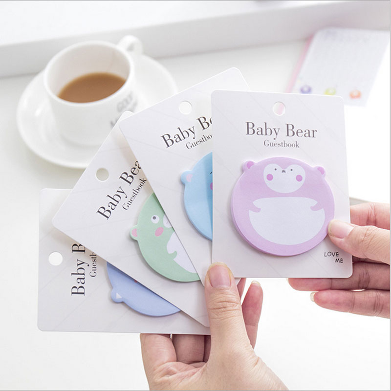 1X Kawaii Creative Cartoon Baby Bear Stickers Weekly Plan Sticky Notes Post Memo Pad Korean Stationery School Supplies