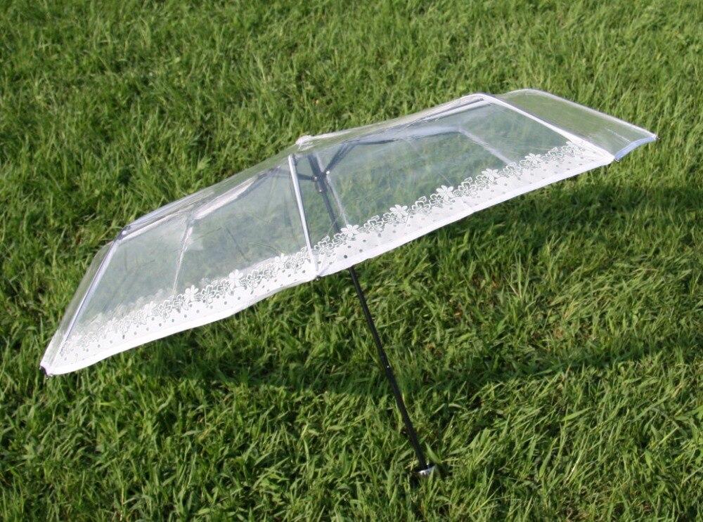 Transparenter Kunststoff PVC Spitze drei Taschenschirm sonnig - Haushaltswaren - Foto 5