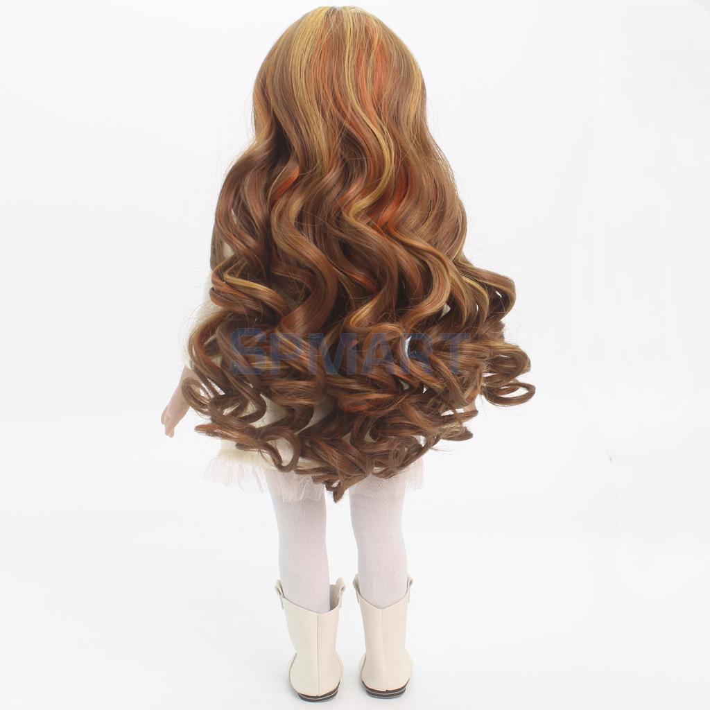Dolls Wavy Roman Curly Hair Wig Heat Safe for 18inch American Girl Doll DIY Making Accessories Brown