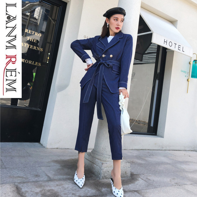 b7c23e242cdb Il Del Colore giù Solido 2019 Tb19205 Casual Cappotto Molla Pantaloni Navy  Tasca Della Donne Blue Cintura Lanmrem Vestito Collare Di ...