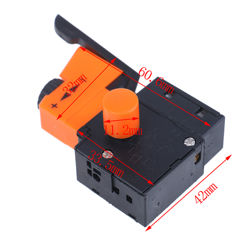 Hot 1pc AC <font><b>220V</b></font>/<font><b>6A</b></font> FA2/61BEK Adjustable Speed <font><b>Switch</b></font> Plastic Metal For Electric Drill Trigger <font><b>Switches</b></font> New image