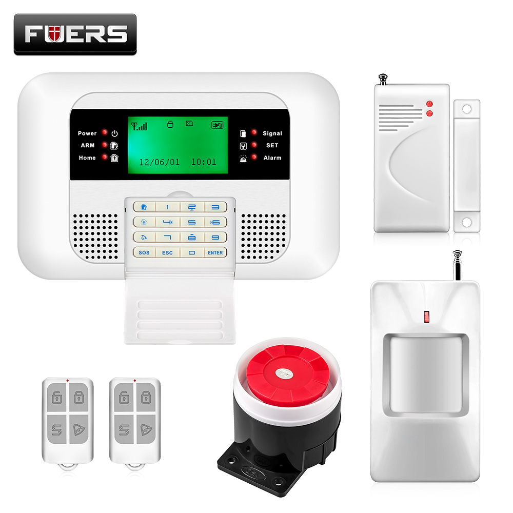 Free Shipping menu style Wireless PSTN GSM Alarm System 433MHz Home Burglar Security Alarm System