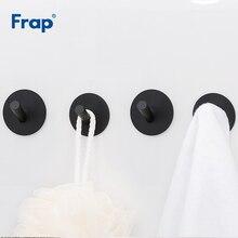 Frap 4Pcs ตะขอสแตนเลสสีดำผ้าเช็ดตัว Robe Hook แขวนผนังห้องน้ำอุปกรณ์เสริมเสื้อผ้า Rack Y19005 1