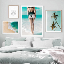 Swimsuit Girl Beach Coconut Tree Seascape Wall Art Canvas Painting Nordic Posters And Prints Wall Pictures For Living Room Decor цена и фото