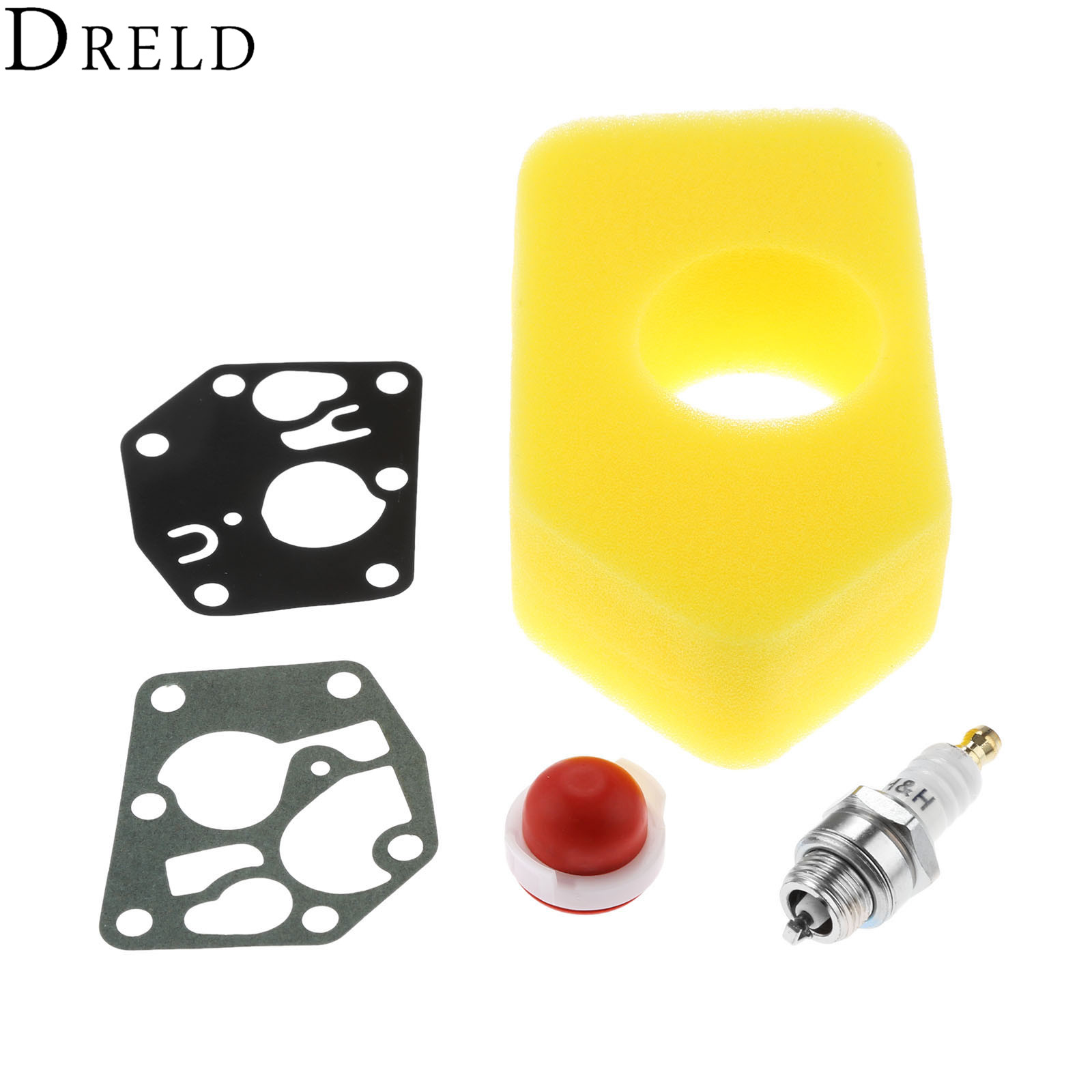 DRELD 5Pcs/set Carb Diaphragm Gasket +Air Filter Primer Bulb +L7T Spark Plug for Briggs & Stratton 795083 495770 698369 694394 цена