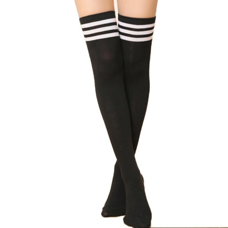 7c8c571bb64df Fashion Striped Knee Socks Women Cotton Thigh High Over The Knee Stockings  for Ladies Girls 2018 Warm Long Stocking Sexy Medias