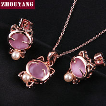 ZHOUYANG Top Quality ZYS036 Lovely Cat Rose Gold Color Jewelry Necklace Earring Set Rhinestone Made with Austrian Crystals