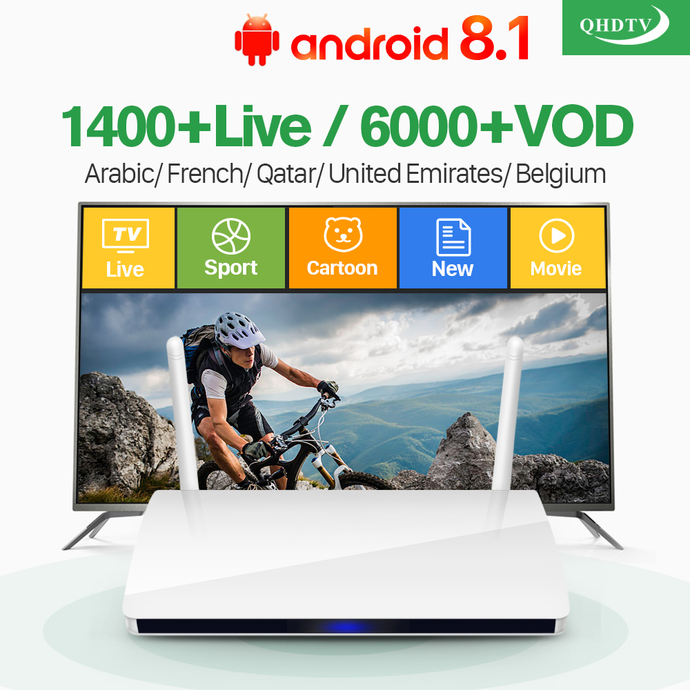 Arabic IPTV Box R6 Android 8.1 QHDTV IPTV Subscription France Arabic Belgium Netherlands Algeria Morocco Tunisia IP TV Receivers