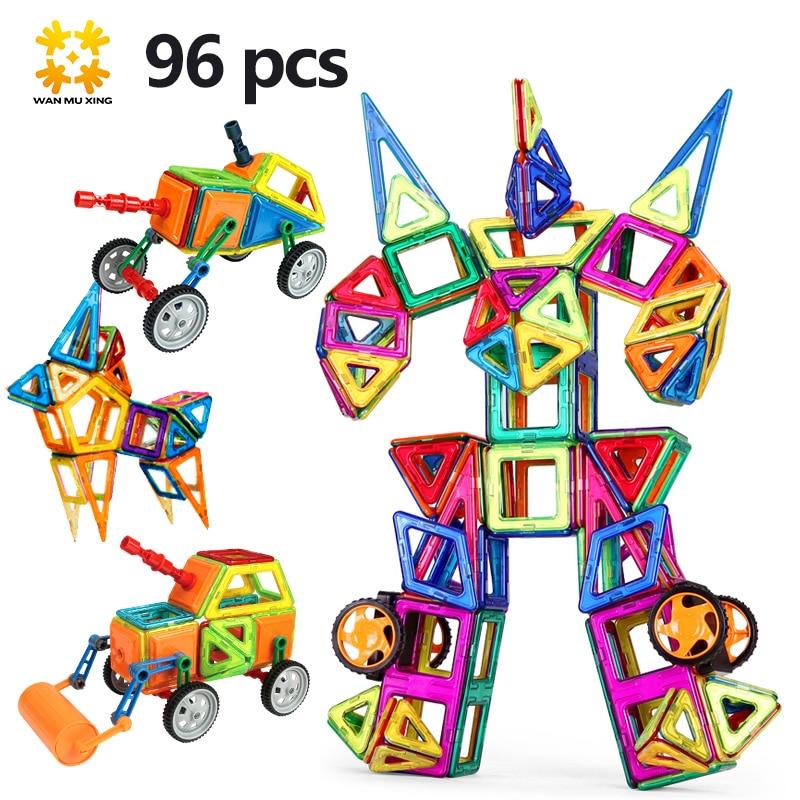Taille moyenne Blocs Magnétiques Magnétiques Concepteur 96 pcs/ensemble Enfant Jouets 3D Modèle BRICOLAGE Blocs De Construction Briques Créatives Jouet Éducatif