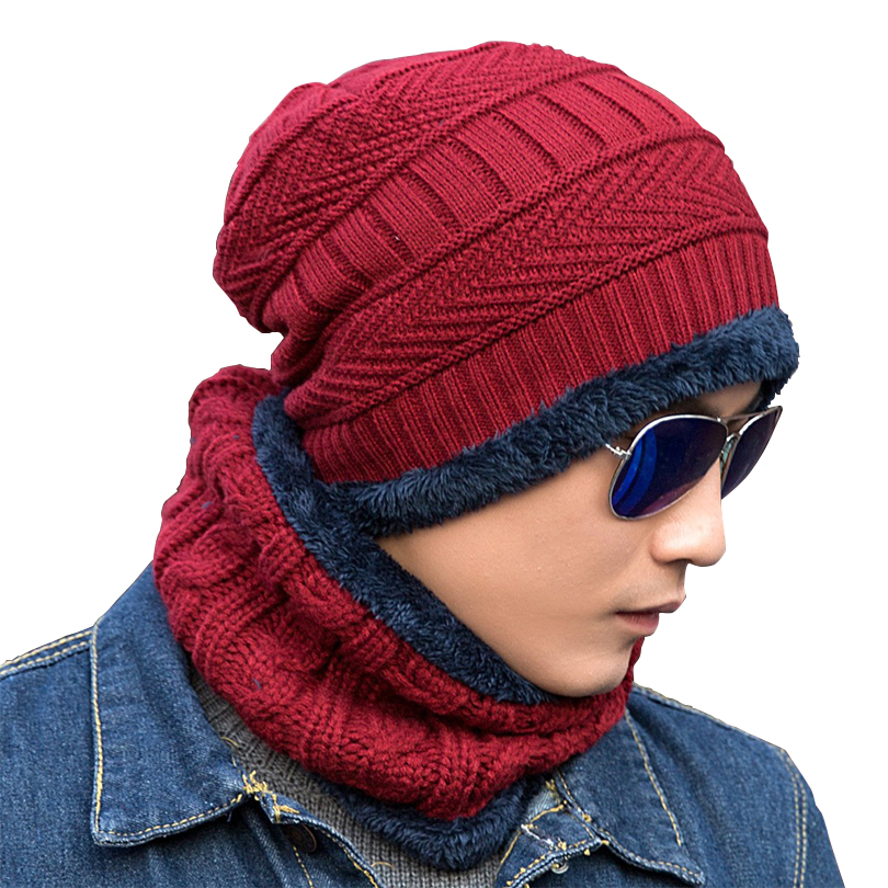 Unisex Skullies Knit Men's Winter Balaclava Bonnet Women Thicken Winter Hats For Men Beanie Warm Baggy Knitted Hat And Scarf skullies