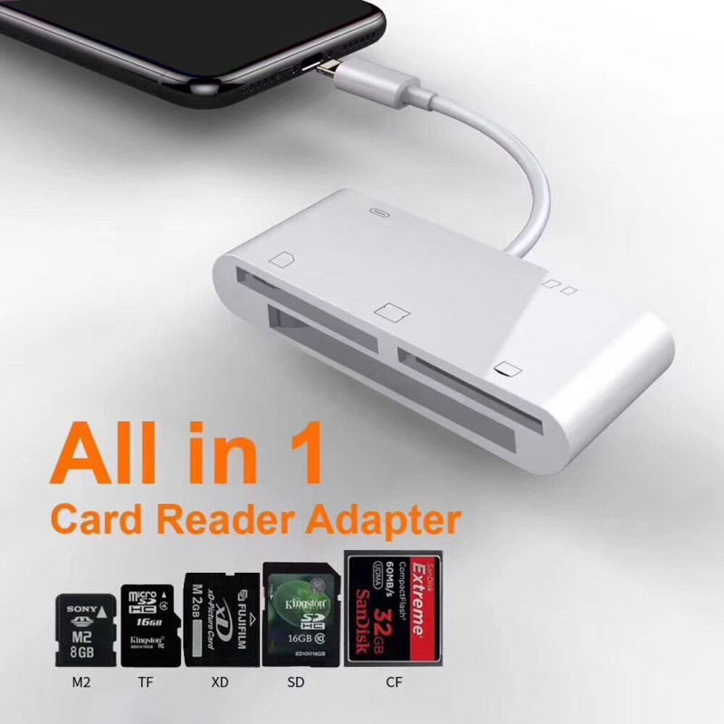 5 In 1 Card Readers Digital Camera Kit Compatible OTG Data Cable CF/XD/M2/SD/TF Card Reader For IPhone IPad Mini / Pro Air IOS
