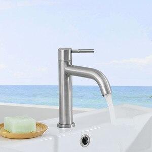 Image 5 - Новый смеситель для раковины из нержавеющей стали 304, устойчивый к ржавчине и коррозии смеситель для ванной и кухни, одиночный смеситель для холодной воды