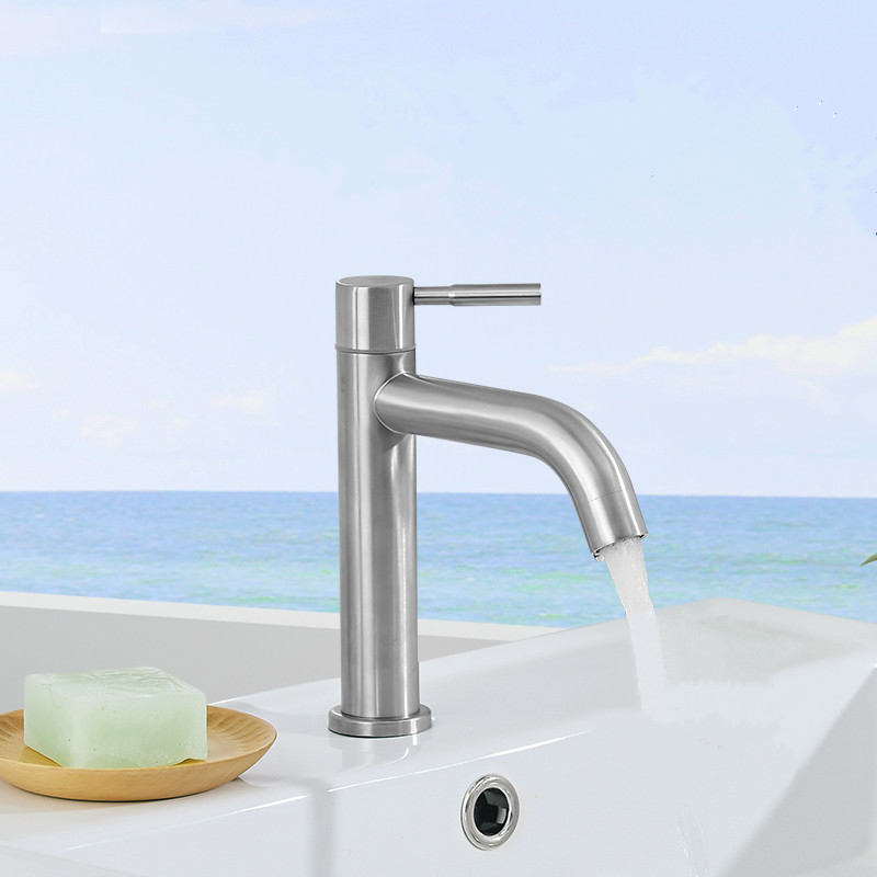 Image 5 - New 304 Stainless Steel Basin faucet Rust and corrosion resistance bathroom kitchen single cold water faucetbasin faucetcold water faucetwater faucet -