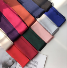 2019 Women Fashion Ribbon Silk Scarf Solid Design Girls Neckerchief Hair Band Bag Handle Wraps Small Neck Scarves Headband Gift(China)