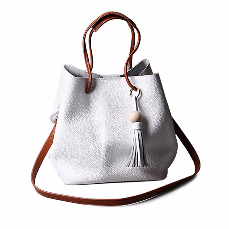 2017 Unique Design Women Tassel Leather Satchel Handbag Shoulder Tote Messenger Crossbody Bag Women's Handbag High Grade Bag A8