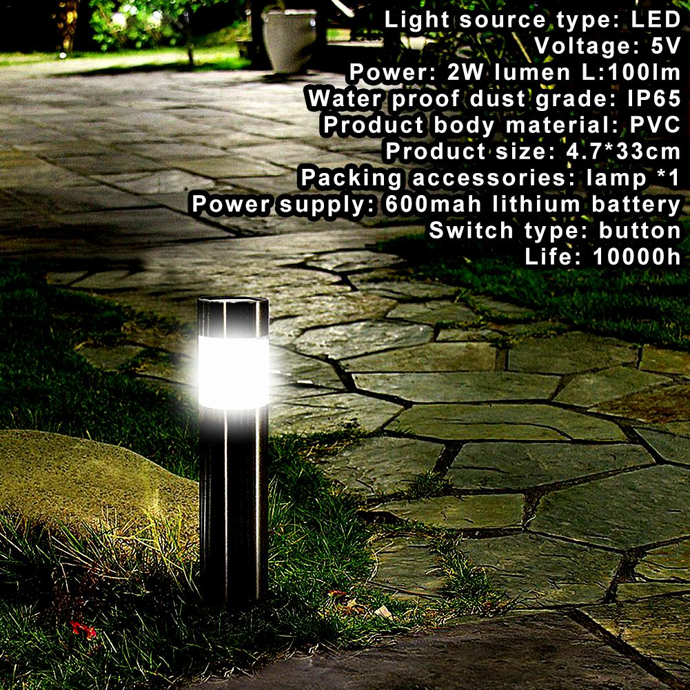 1PCS Stainless Steel Led Solar Lawn Lamp Outdoor Garden Path Lawn Light Solar Bollard Light White Light Led Solar Lamp