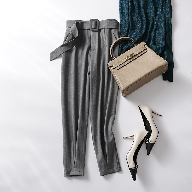 Beige Plait 2019 La Pantalones Cónicos Nueva Panty Presión Ligeramente Boca gris De negro Alta Moda Cintura Pies En Primavera S6xwqdqa