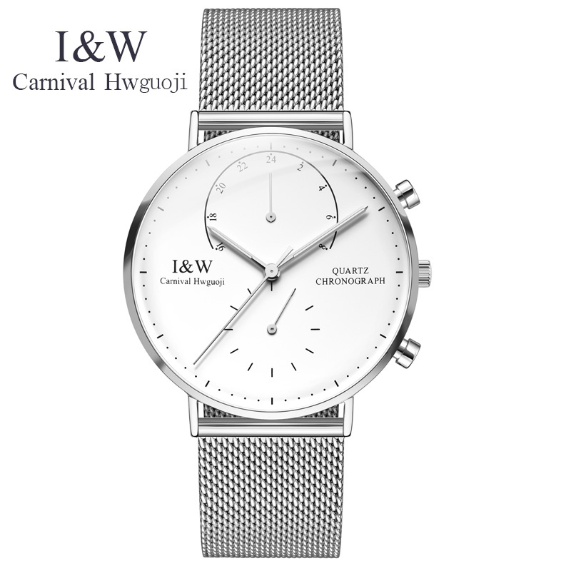 40mm gift CARNIVAL cool Minimalist style wristwatch Stainless Steel simple stylish quartz fashion watch Sapphire Crystal 2017 2017 enmex cool style men wristwatch brief vogue simple stylish black and white face stainless steel quartz clock fashion watch