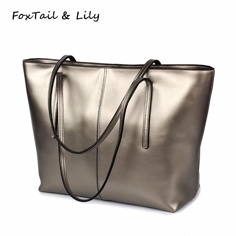 FoxTail & Lily Woman Casual Tote Bags Large Capacity Genuine Leather Ladies Shoulder Bag Women Luxury Brand Handbags Cowhide [whorse] brand high quality women genuine leather shoulder bags cowhide ladies casual tote bag large capacity wa5054 7