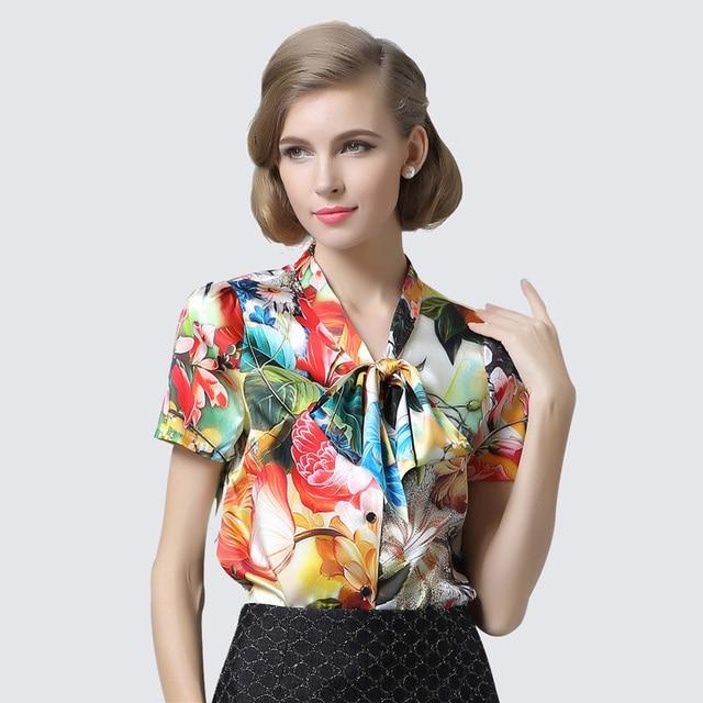 Mulheres blusa de manga curta blusa de SEDA Natural de seda Estampado Floral  ARCO TRECHO blusa 6a427dd9da2