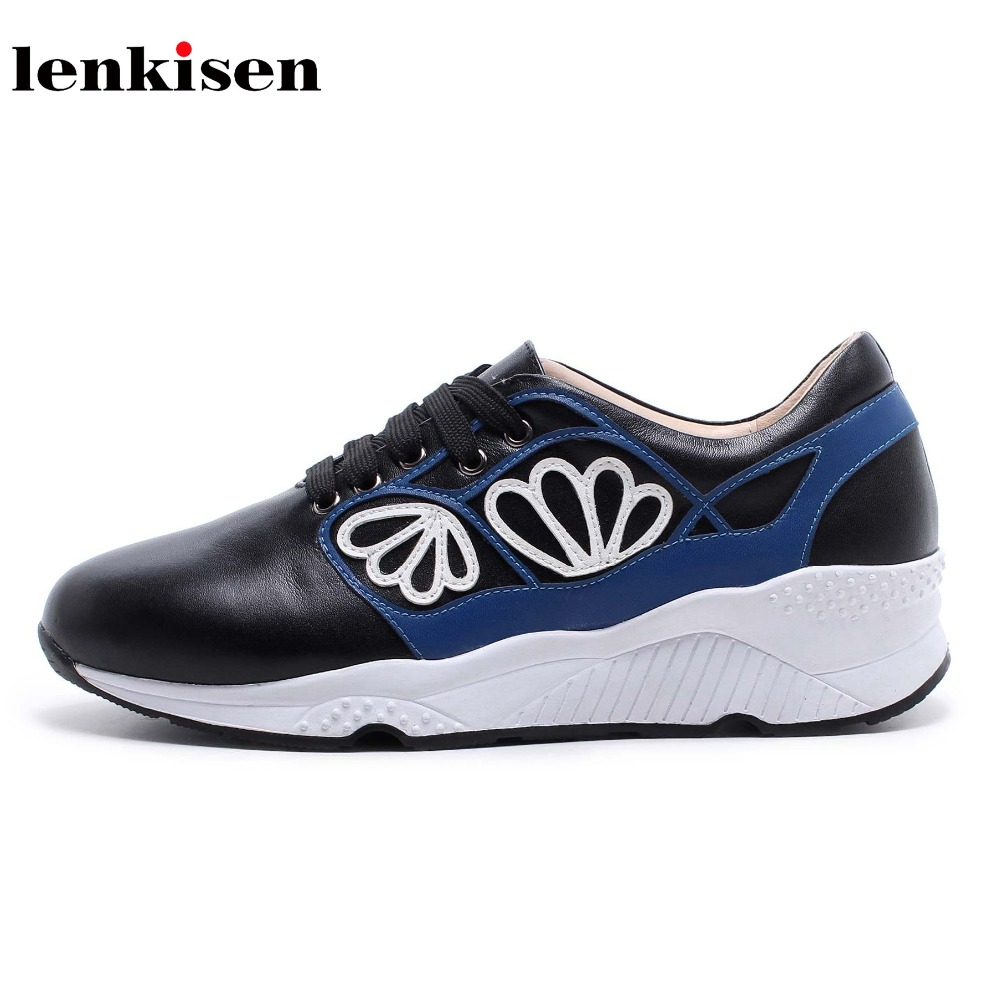 Lenkisen new fashion round toe lace up platform sneaker causal shoes med heel petals decoration young women vulcanized shoes L03