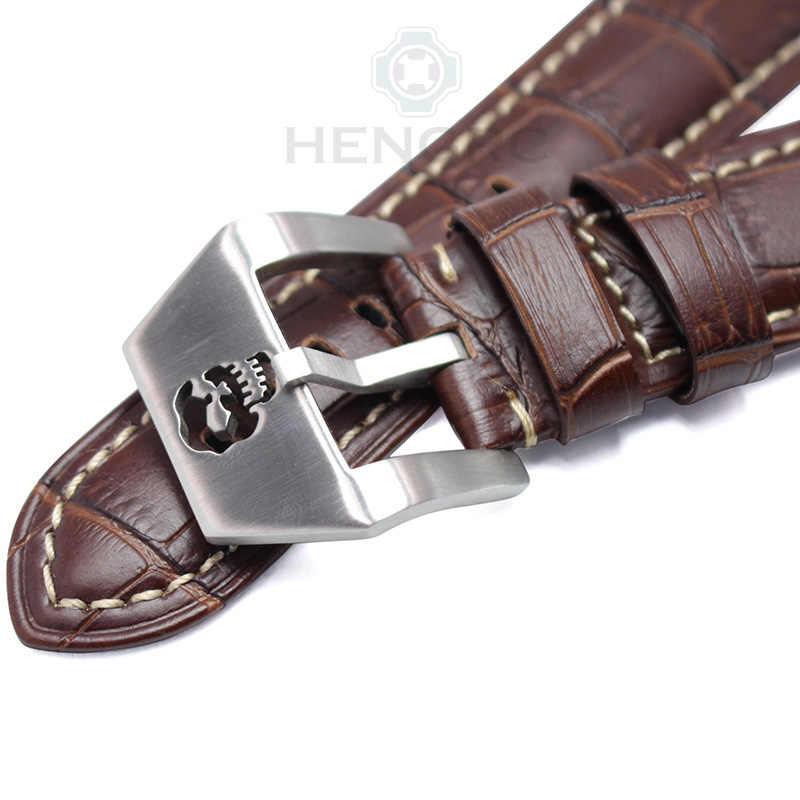 Hengrc Watchband 22 Mm 24 Mm Coklat Hitam Kulit Asli Pria Wanita Watch Band Tali Logam Tengkorak Hollow Gesper Panerai aksesoris