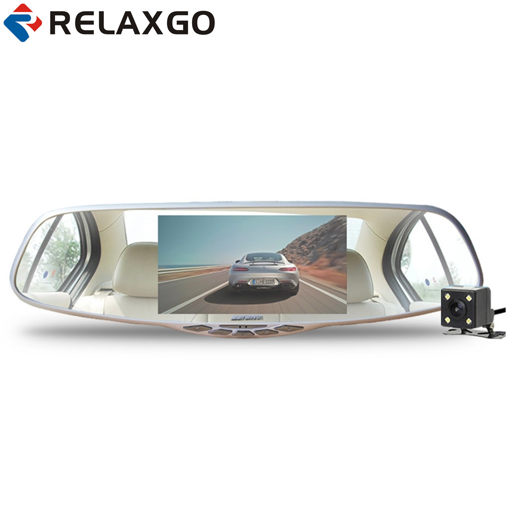 Relaxgo 5 Car DVR Rearview Mirror Novatek 96655 Car Camera Dual Lens Parking Full HD 1080P