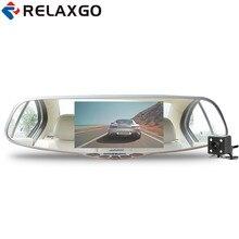 On sale Relaxgo 5″ Car DVR Rearview Mirror Novatek 96655 Car Camera Dual Lens Parking Full HD 1080P Video Recorder Dash Cam Black Box