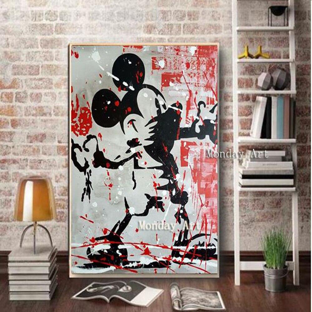 Meilleur 100% peinture à la main monopole Mickey Mouse peinture dessin animé peinture à l'huile sur toile pour chambre d'enfant bureau décoration murale