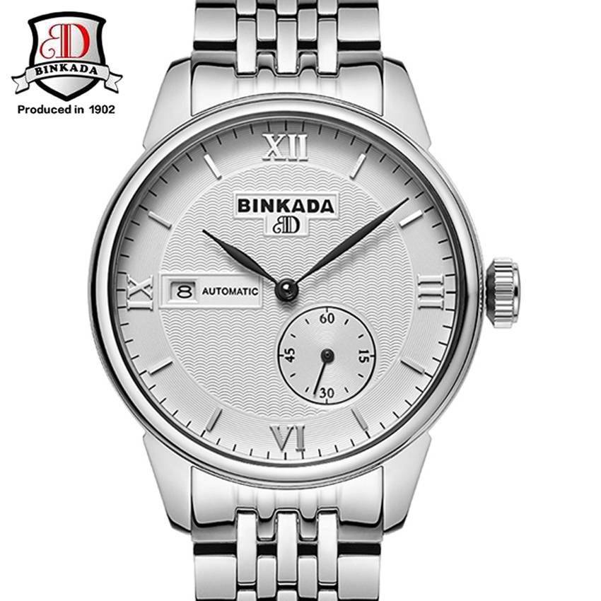 BINKADA Fashion Luxury Brand Automatic Men Wristwatch Sapphire Men Mechanical steel Watches Relogio Masculino new binkada men s automatic mechanical watches black dial stainless steel strap hand wind male wristwatch relogio masculino