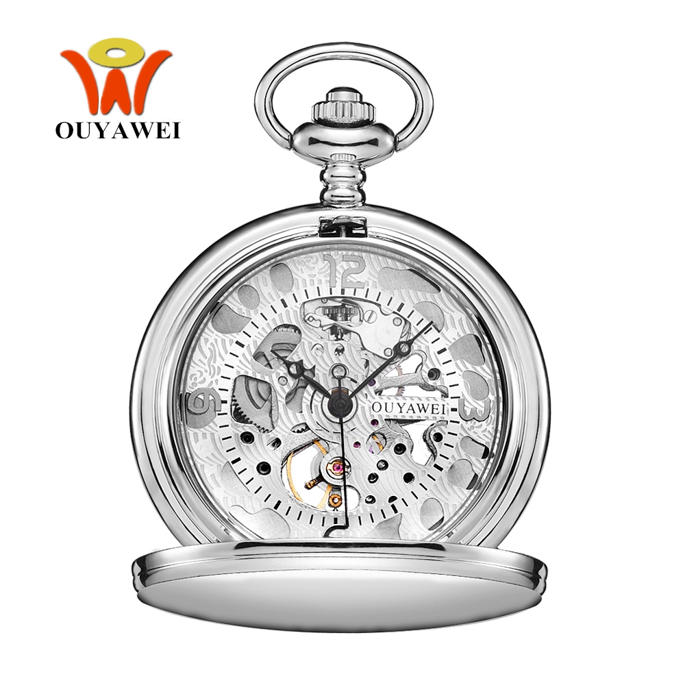 NEW Fashion OUYAWEI Mechanical Hand Wind Pocket Watch Men Retro Vintage Pendant Skeleton Design Full Steel Case Pocket Fob Watch