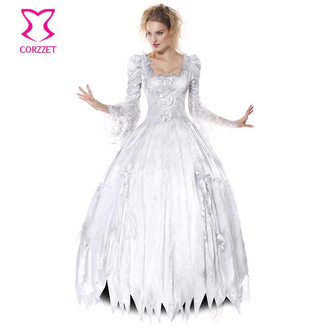 6e68ea00a placeholder Vitoriano Gótico Zombie Fantasma Noiva Fantasia Vestido Branco  Lolita Cosplay Vampiro Cadáver Condessa Sensuais Trajes de