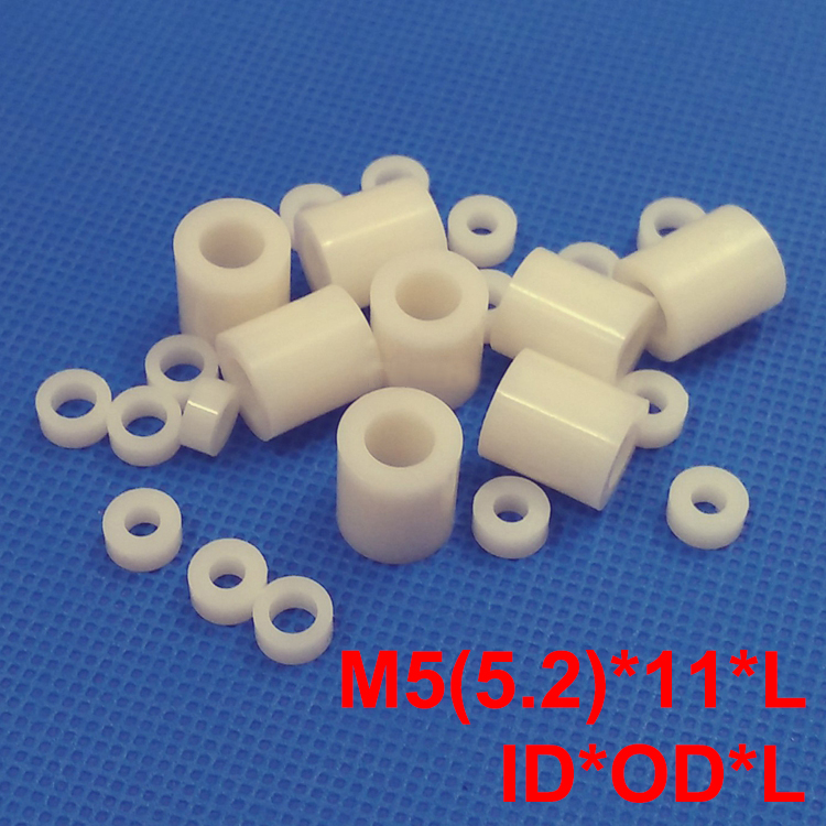 цена 400pcs M5 5.2*11*5 5.2x11x5 5.2*11*8 5.2x11x8 ID*OD*L ABS Plastic Nylon Round Column Tube Insulation Shim Washer Standoff Spacer