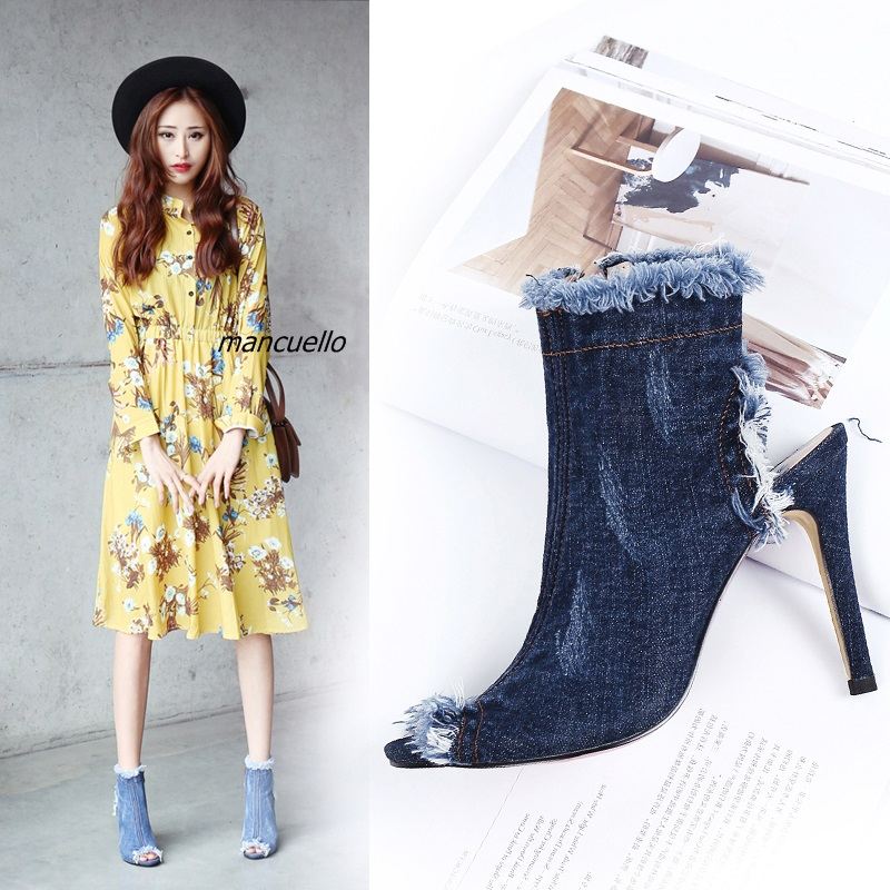 Fancy Light Blue Wash Jeans Ankle Boots Women Sexy Slingback Stiletto Heel Sandal Boots Fashion Denim Fringe Edge Sandals цена