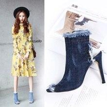 Fancy Light Blue Wash Jeans Ankle Boots Women Sexy Slingback Stiletto Heel Sandal Boots Fashion Denim Fringe Edge Sandals