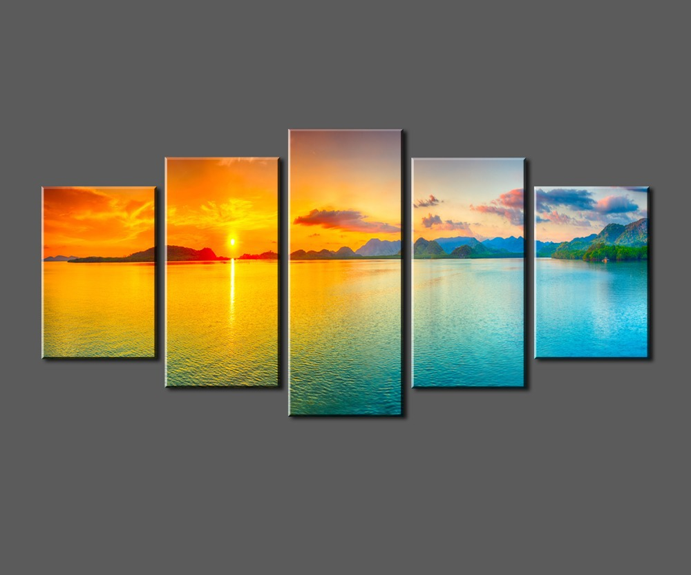 Sunset Ocean View, Framed Large HD Canvas Print Painting Artwork ...