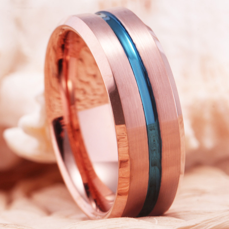 Trendy Fashion Wedding Rings for Women Men 39 s Engagement Ring Anniversary Gift Lovers Tungsten Carbide Ring Rose Golden with Blue in Rings from Jewelry amp Accessories
