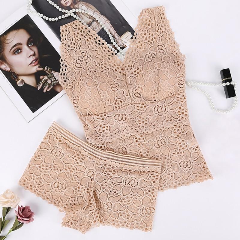Lace Sexy   Bra     Set   Women Wire Free Lingerie Women Push Up Seamless Embroidery   Bra     Set