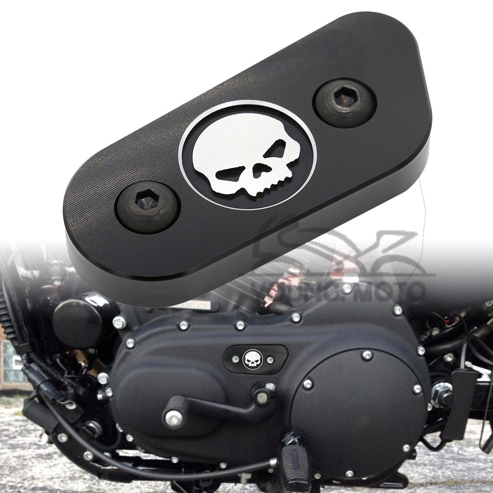 Black Motorcycle CNC Chain Inspection Cover Guard Chrome Skull Protect For Harley Davidson Sportster XL 883 1200 2014 2015 2016 aftermarket free shipping motorcycle parts brake clutch lever fit for harley davidson davidson xl sportster 883 1200 softail cd