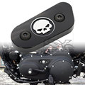 Black Motorcycle CNC Chain Inspection Cover Guard Chrome Skull Protect For Harley Davidson Sportster XL 883 1200 2014 2015 2016