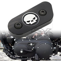 Black Motorcycle CNC Chain Inspection Cover Guard Chrome Skull Protect For Harley Davidson Sportster XL 883
