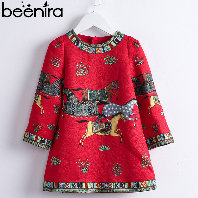 Beenira Children Winter Dress 2018 New Fashion Style Girls Horse Pattern High-Quality Dress For 4-14Y Baby Clothes Dresses wholessale children 2016 fashion style new arrival es winter party clothes brand es baby girl clothes pattern new nice hot