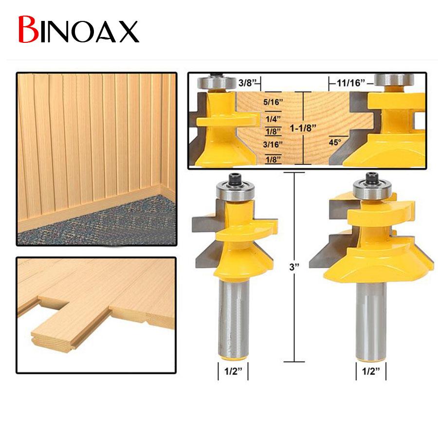Binoax Matched Tongue & Groove V- Notch Router Bit Set Woodworking Cutting Tools-1/2 Shank 2pcs tongue