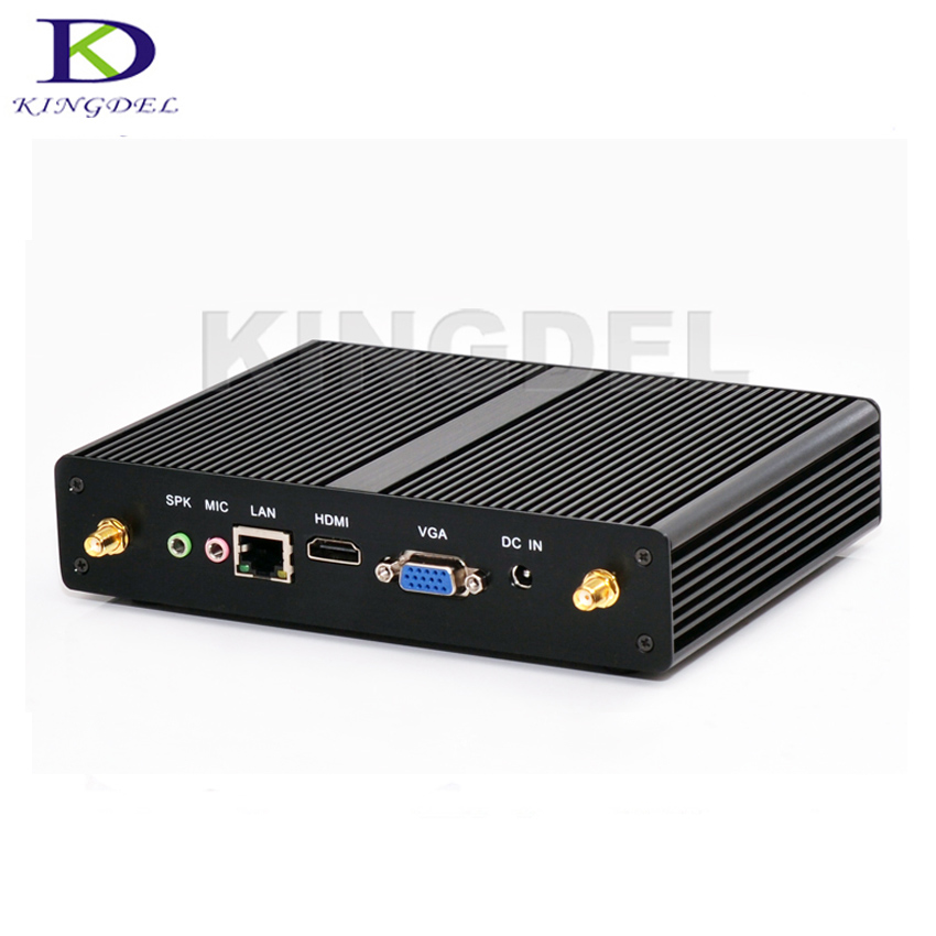 Kingdel 2016 Newest Fanless Mini Desktop PC 3 Year Warranty Celeron 2980U Pentium 3556U HTPC USB 3.0 HDMI VGA 1000M LAN WiFi